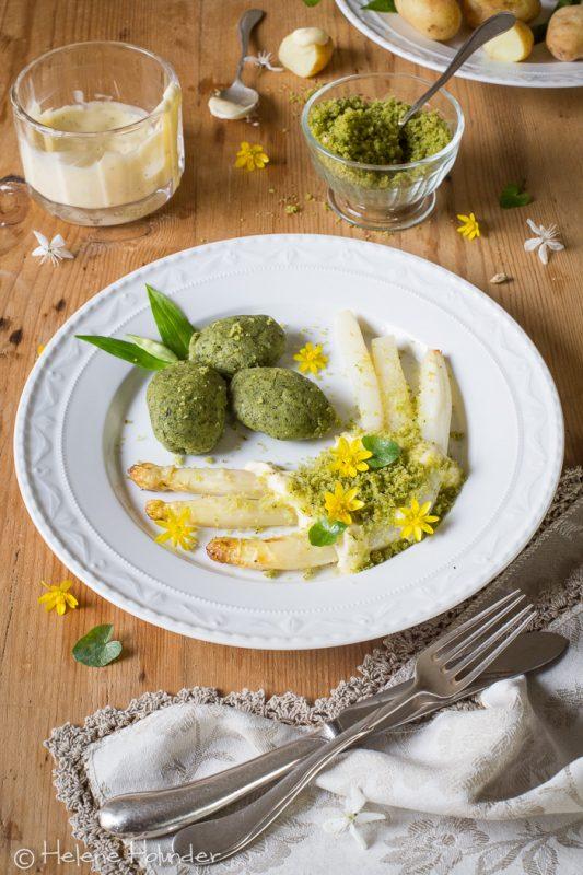 Gremolata mit Spargel, Gremolata Nocken, vegan, Helene Holunder