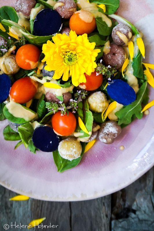 Kalifornischer Kartoffelsalat, bunt und sonnig, vegan, Helene Holunder