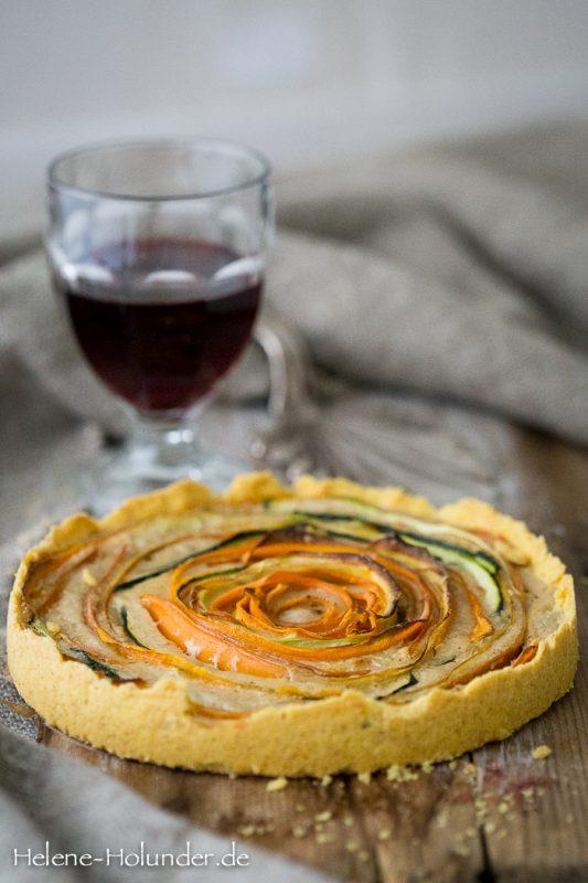 Möhren Zucchini Tarte, vegan, Helene Holunder
