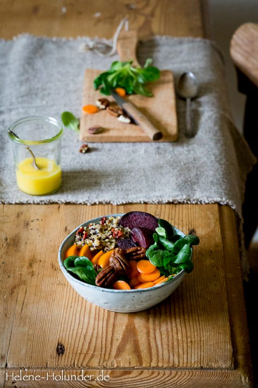 Bunte Schüssel mit Mango Mayonnaise, vegan, Helene Holunder