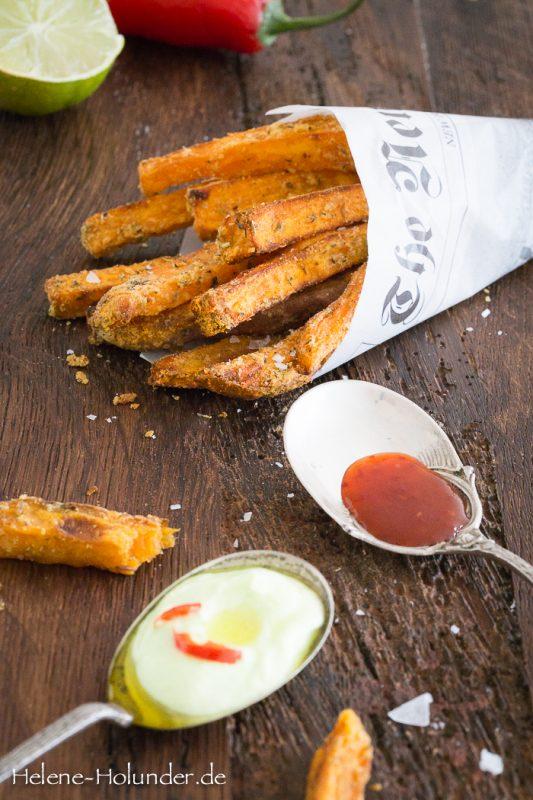Süßkartoffelfritten mit Hummus und Chilisauce, vegan, Helene Holunder