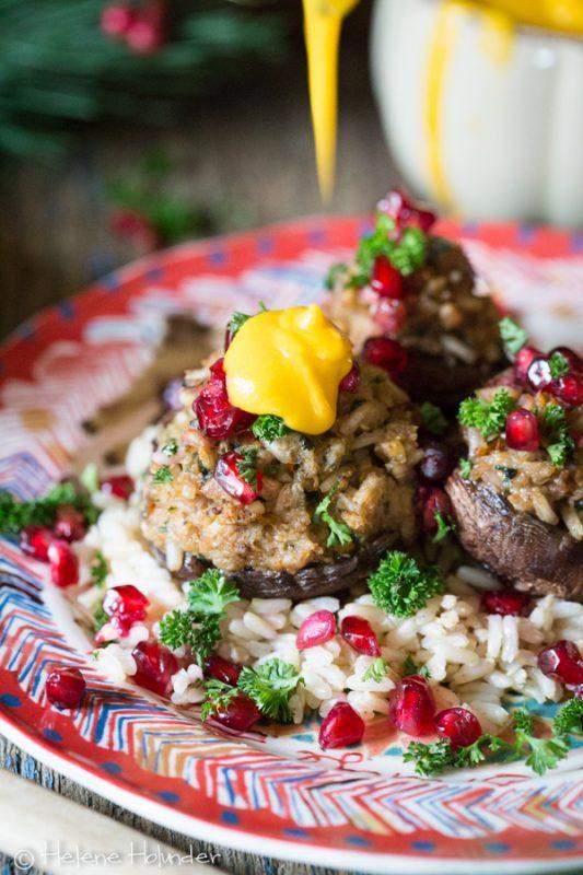Gefüllte Pilze mit Süßkartoffel Sauce und Kartoffelstampf, Thanksgiving, Helene Holunder